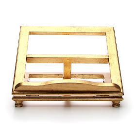 Estante de mesa madeira folha ouro s1