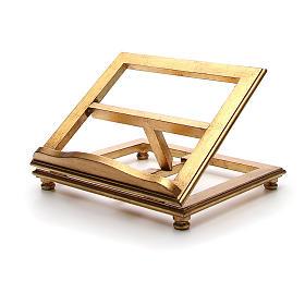Estante de mesa madeira folha ouro s2
