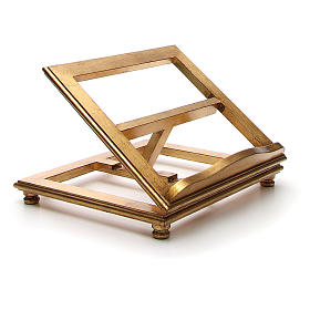 Estante de mesa madeira folha ouro s4