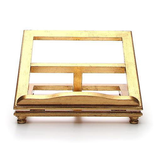 Estante de mesa madeira folha ouro 1