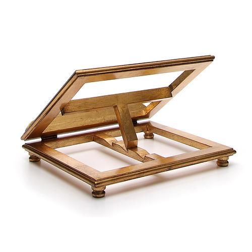 Estante de mesa madeira folha ouro 3