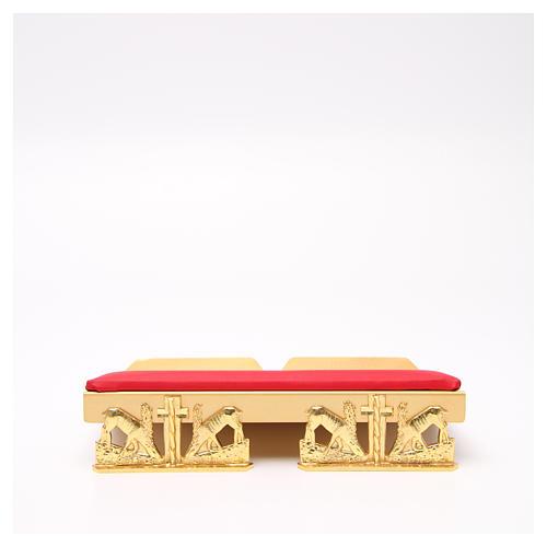 Pupitre d'autel doré coussin laiton cerfs à la source 12