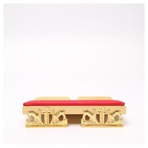 Pupitre d'autel doré coussin laiton cerfs à la source 1