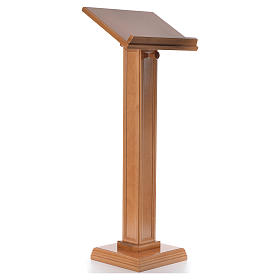 Lectern in walnut wood with squared pedestal, honey colour s8