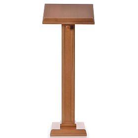 Lectern in walnut wood with squared pedestal, honey colour s1
