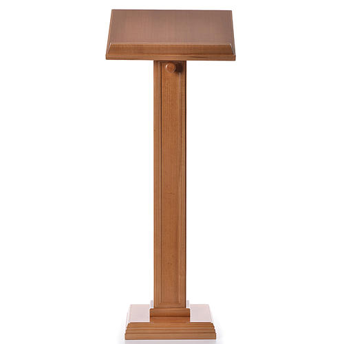 Lectern in walnut wood with squared pedestal, honey colour 1