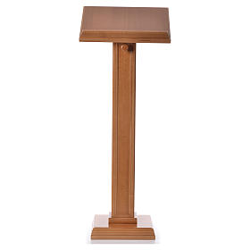 Lectern in walnut wood with squared pedestal, honey colour s5
