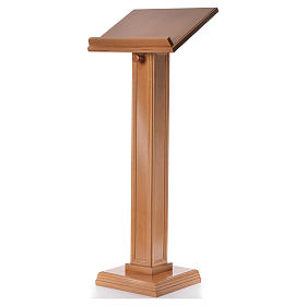 Lectern in walnut wood with squared pedestal, honey colour s6