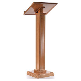 Lectern in walnut wood with squared pedestal, honey colour s3