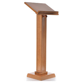 Lectern in walnut wood with squared pedestal, honey colour s4