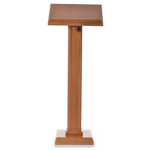 Lectern in walnut wood with squared pedestal, honey colour 5