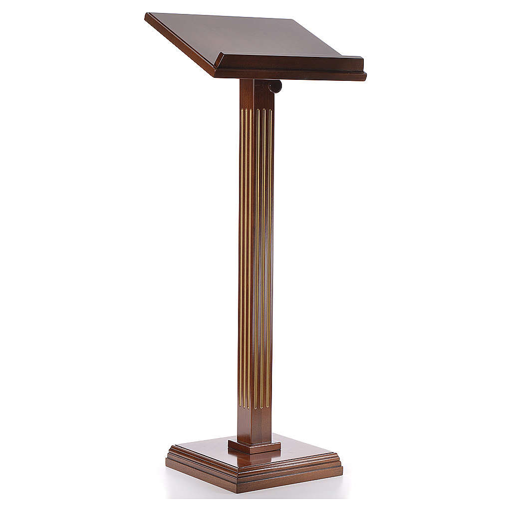 Lectern in walnut wood with fluted pedestal 4