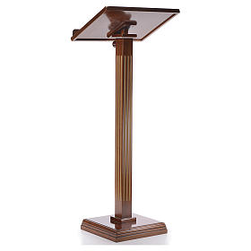 Lectern in walnut wood with fluted pedestal s3