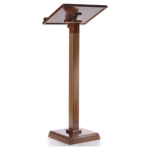 Lectern in walnut wood with fluted pedestal 7