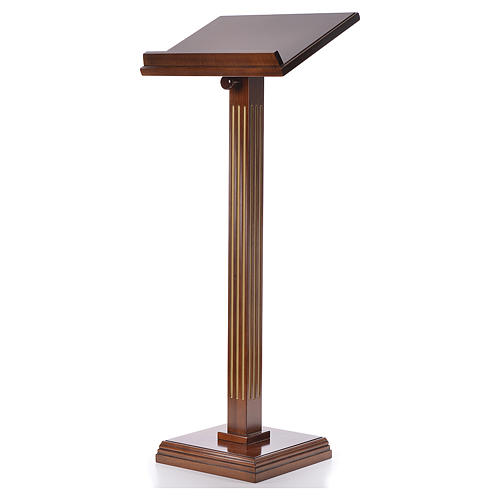 Lectern in walnut wood with fluted pedestal 2