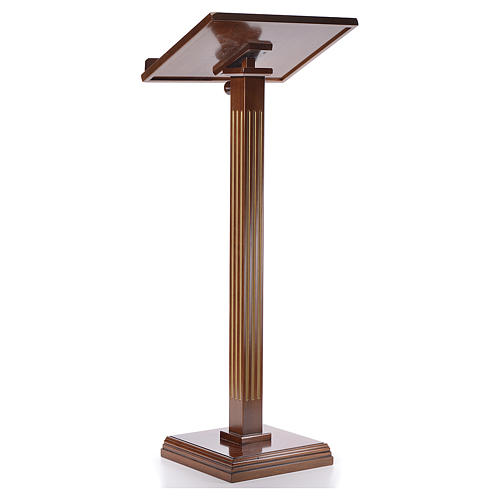 Lectern in walnut wood with fluted pedestal 3