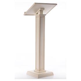 Atril con columna madera de nogal blanco s3