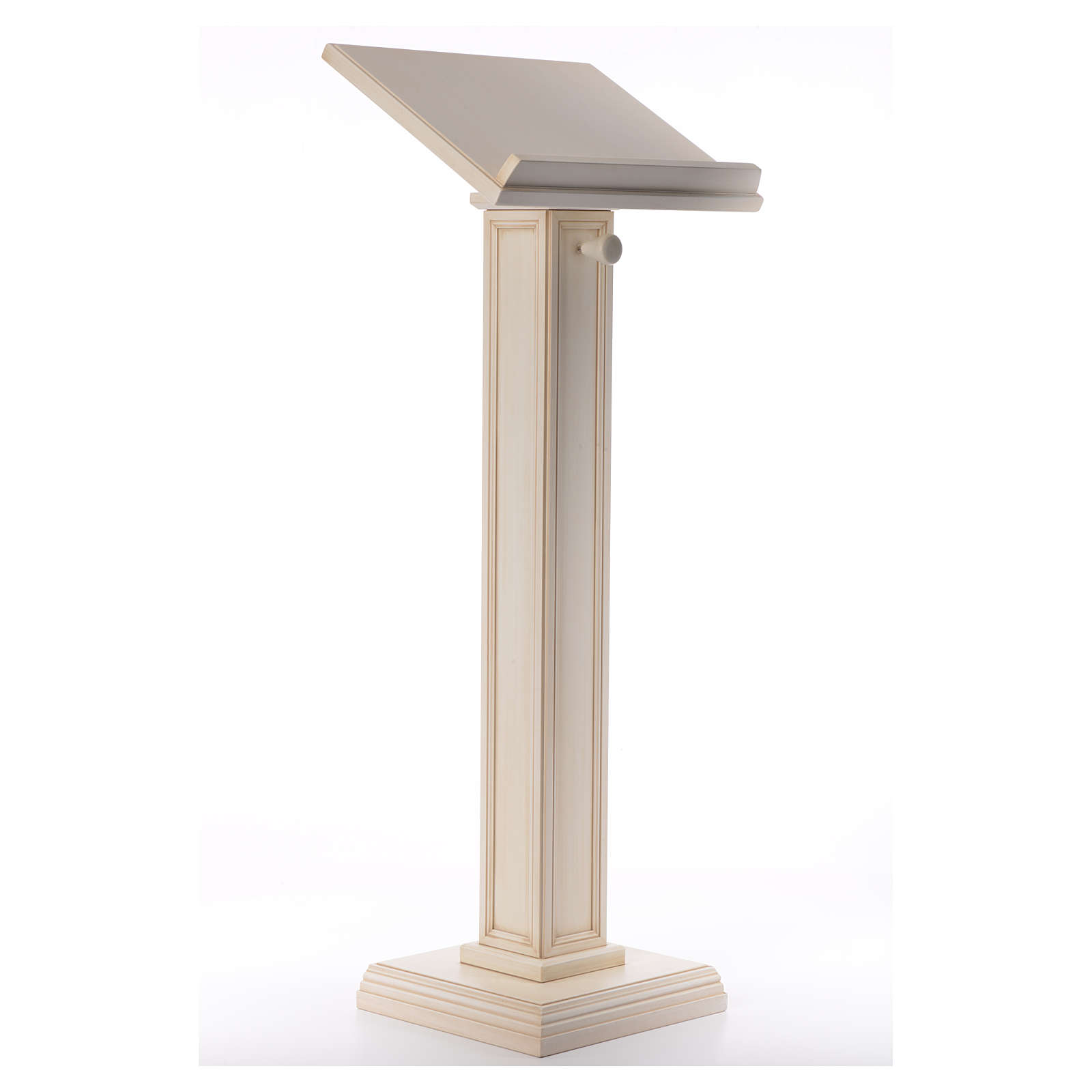 Lectern in walnut wood with squared pedestal, ivory colour 4