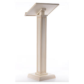 Lectern in walnut wood with squared pedestal, ivory colour s3