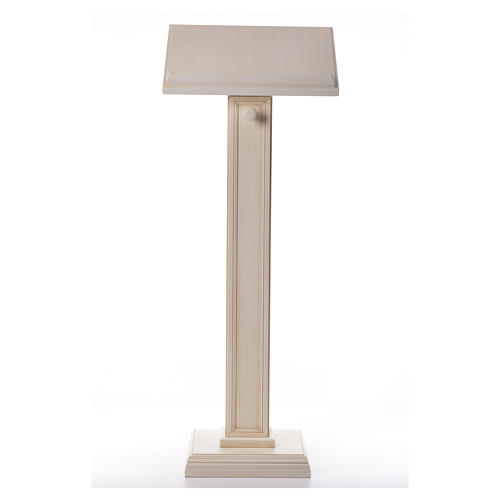 Lectern in walnut wood with squared pedestal, ivory colour 1