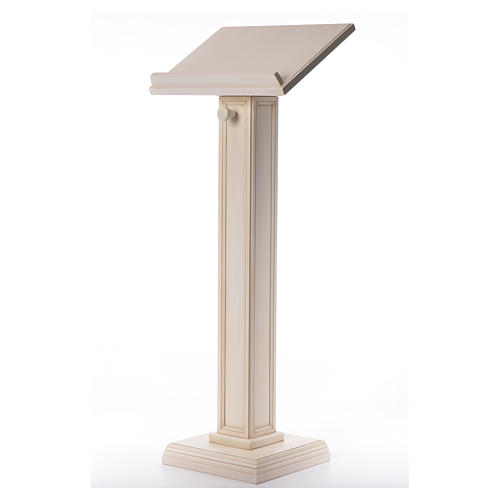 Lectern in walnut wood with squared pedestal, ivory colour 2
