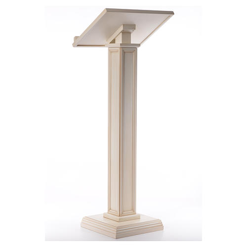 Lectern in walnut wood with squared pedestal, ivory colour 3