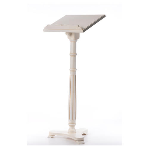 Lectern in walnut wood with round pedestal, ivory colour 2