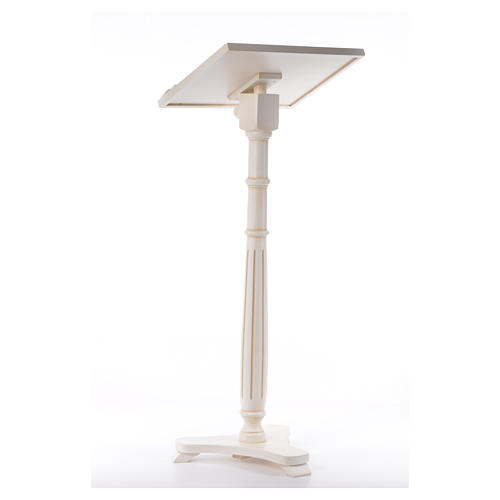 Lectern in walnut wood with round pedestal, ivory colour 3