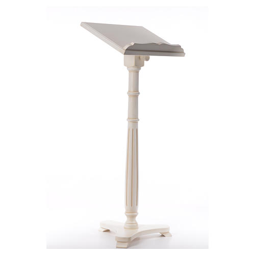 Lectern in walnut wood with round pedestal, ivory colour 4