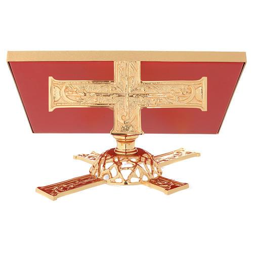 Atril de eucaristía giratorio latón y falso cuero 4