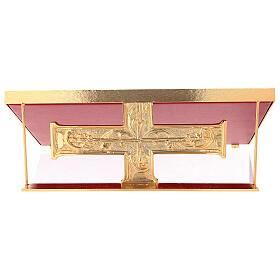Leggio da mensa ottone fuso croce decorazioni barocche