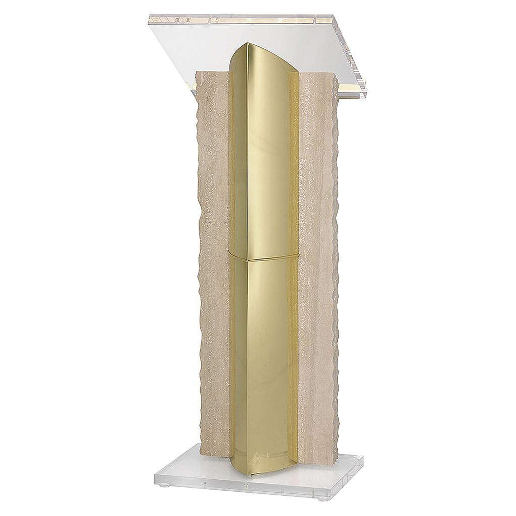 Leggio a stelo ottone plexiglass marmo Molina 4