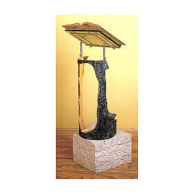 Leggio a stelo bronzo marmo travertino Molina
