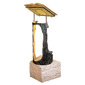 Stem Lectern bronze & travertine marble Molina s2