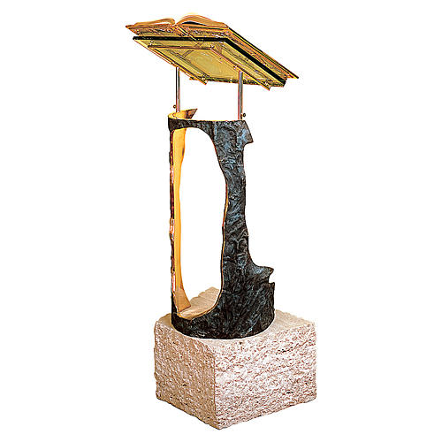 Stem Lectern bronze & travertine marble Molina 2