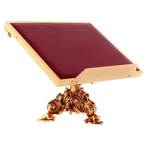 Leggio da mensa girevole ottone fuso bagno oro 24 K 3