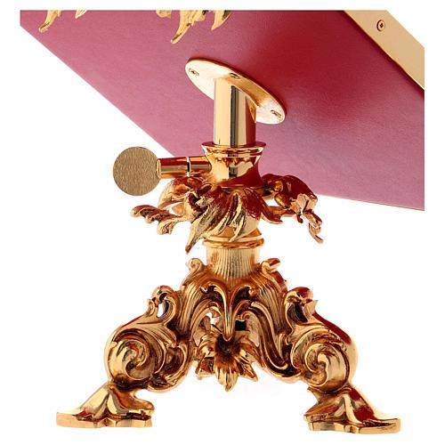 Leggio da mensa girevole ottone fuso bagno oro 24 K 7