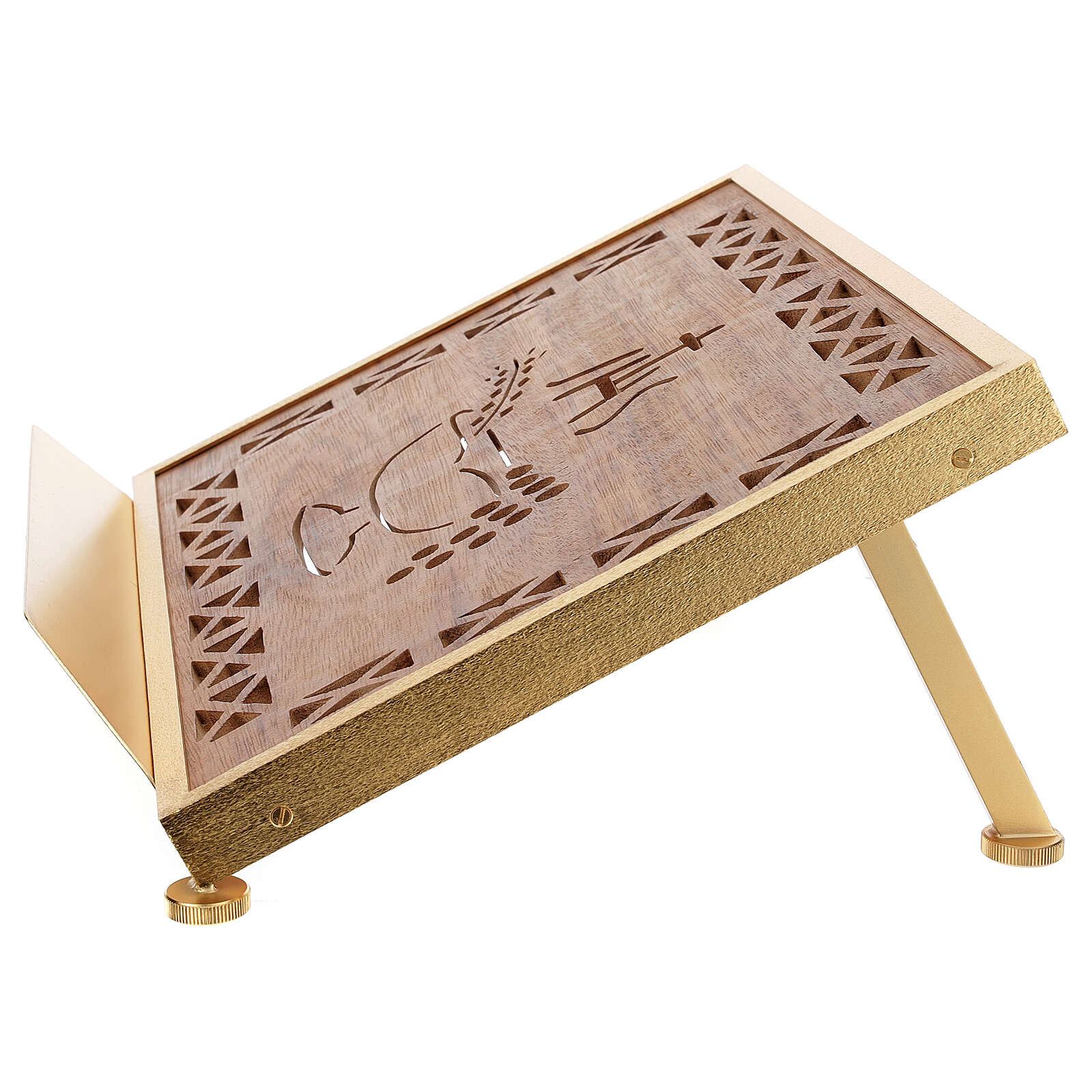 Atril de misa dorado madera y latón IHS 4