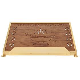 Atril de misa dorado madera y latón IHS s1