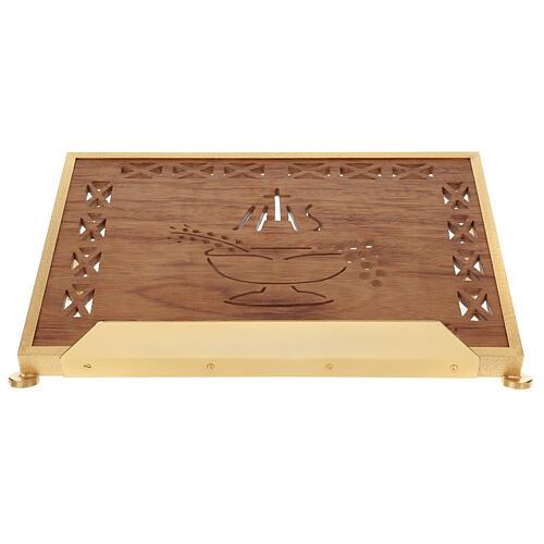 Atril de misa dorado madera y latón IHS 1