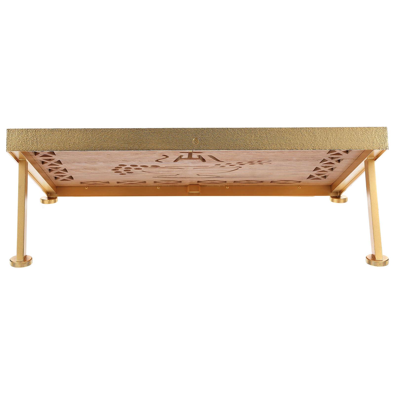 Leggio da mensa dorato legno e ottone IHS 4