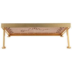 Leggio da mensa dorato legno e ottone IHS s5