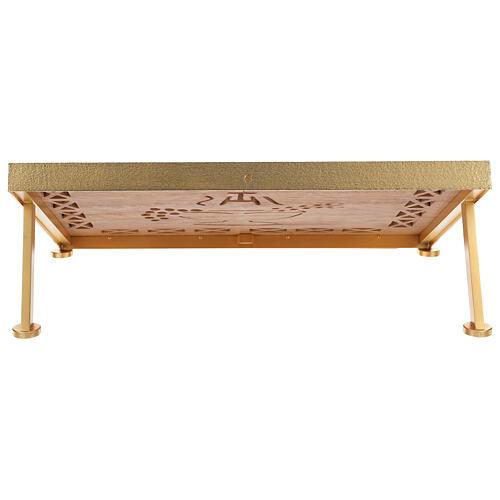 Leggio da mensa dorato legno e ottone IHS 5