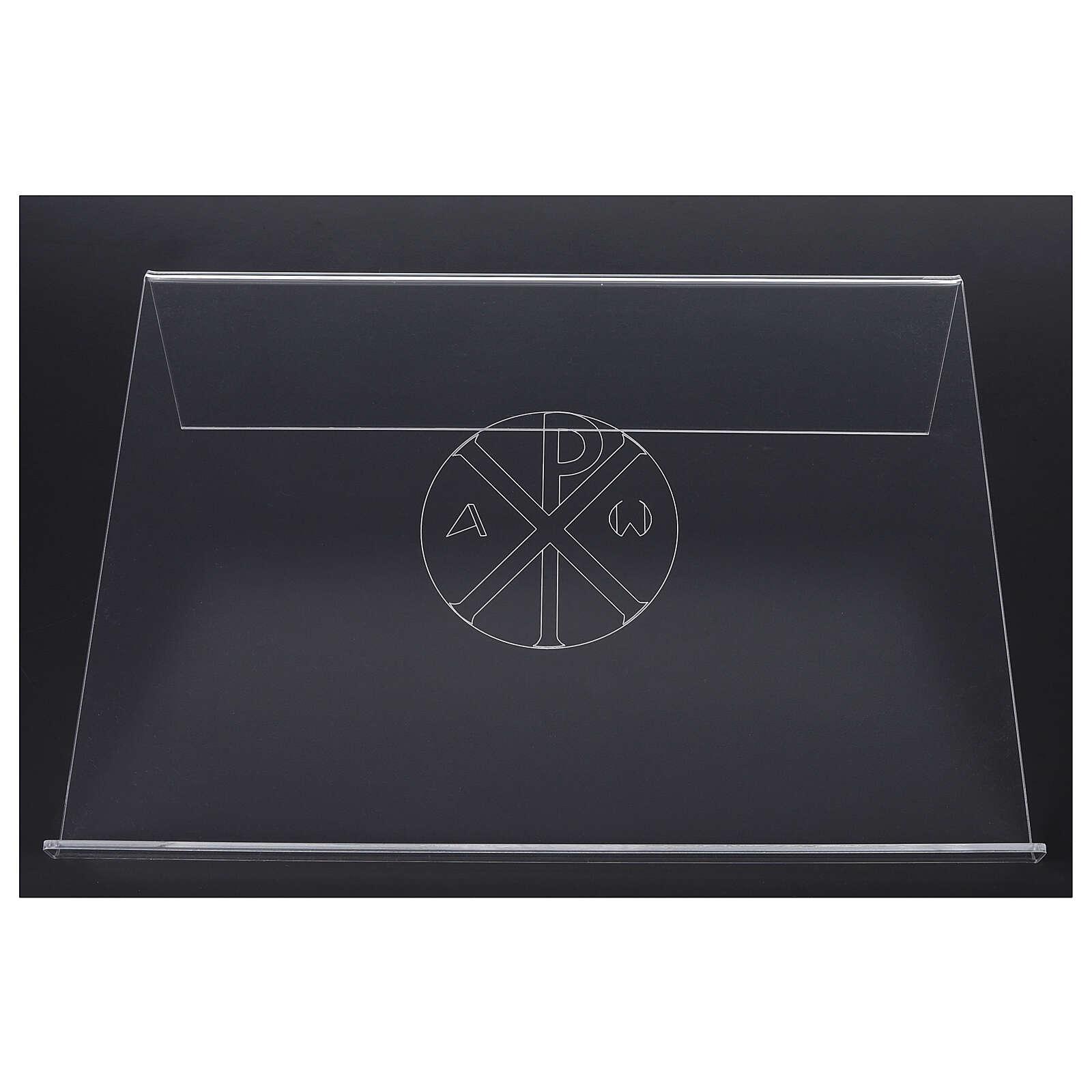 Pupitre plexiglas avec gravure Chi-Rho 45x30cm 4