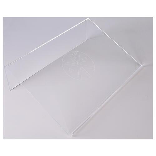 Pupitre plexiglas avec gravure Chi-Rho 45x30cm 1