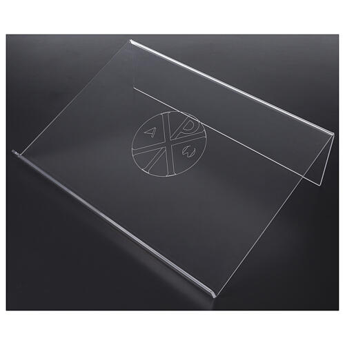 Pupitre plexiglas avec gravure Chi-Rho 45x30cm 2