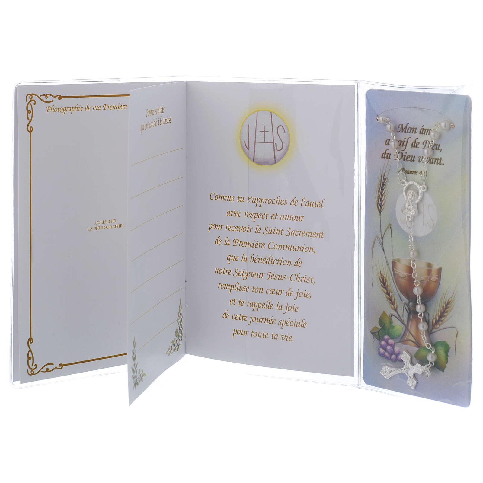 Büchlein zur Erstkommunion FRANZÖSISCH mit weißem Rosenkranz 4