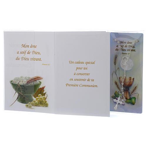 Büchlein zur Erstkommunion FRANZÖSISCH mit weißem Rosenkranz 2