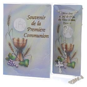 Libretto Prima Comunione FRANCESE con rosario bianco s1