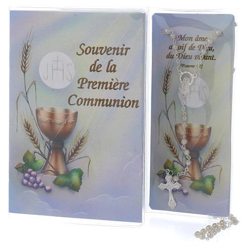 Libretto Prima Comunione FRANCESE con rosario bianco 1